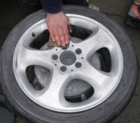 photo of alloy wheel during repair
